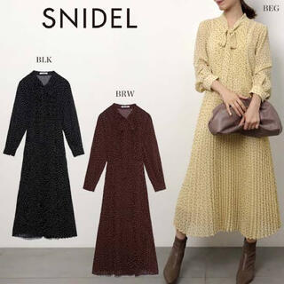 snidel - 新品タグ付き★ スナイデル ボウタイドットシアーワンピ ブラック 1