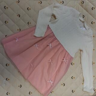 新品タグ付き ワンピース  リボン チュール レース 女の子 ピンク