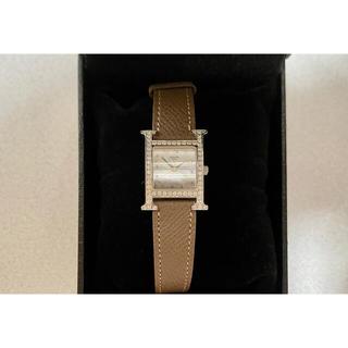Hermes - エルメス Hウォッチ シェル文字盤 ダイヤ シルバー 腕時計