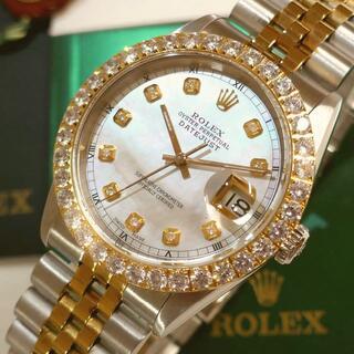 ROLEX - ★保証有!極美品!◆ROLEX DATEJUST◆SⅡダイヤ ホワイトパール