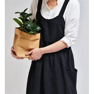 エプロン リネン おしゃれ カフェ風 シンプル バッククロス レディース (その他)