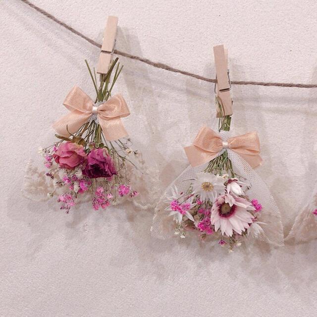 春待ちピンク レースリボンガーランド  ドライフラワー 韓国雑貨 ハンドメイドのフラワー/ガーデン(ドライフラワー)の商品写真
