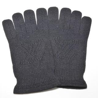 ルイヴィトン(LOUIS VUITTON)の極美品ルイヴィトン ラメ カシミヤ手袋 肌触り抜群 LVロゴ刺繍デザイングローブ(手袋)
