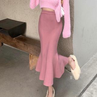 リリーブラウン(Lily Brown)の裾フリル膝丈スカート(ピンク)(ひざ丈スカート)
