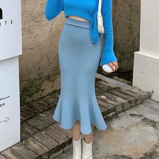 リリーブラウン(Lily Brown)の裾フリル膝丈スカート(ブルー)(ひざ丈スカート)