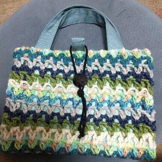 【訳あり】大人かわいい☆レビューブックカバー 手編みと布のコラボ ブルー系(ブックカバー)