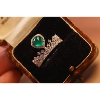 天然エメラルドダイヤモンド付きリングk18