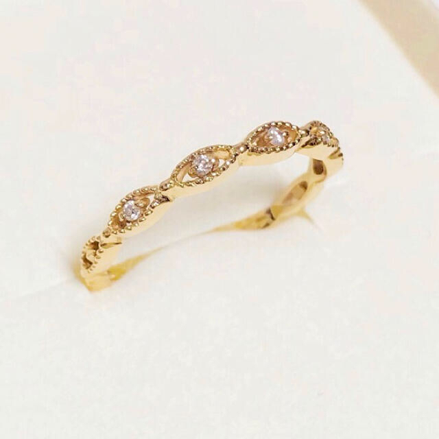 agete(アガット)のagete CLASSIC アガット k18 ダイヤモンド 透かし リング #9 レディースのアクセサリー(リング(指輪))の商品写真