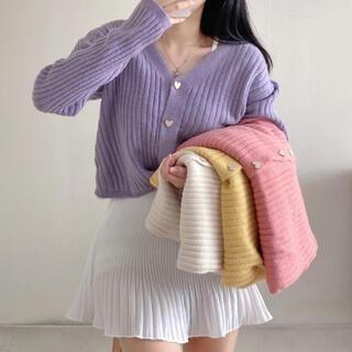 STYLENANDA - 【予約商品】《4カラー》ハートボタン カーディガン 韓国ファッション 春服