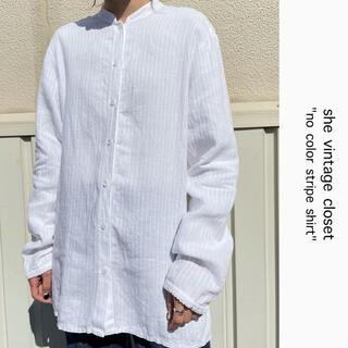 Santa Monica - 90s 古着 ノーカラーシャツ 白シャツ シースルーブラウス ビンテージ