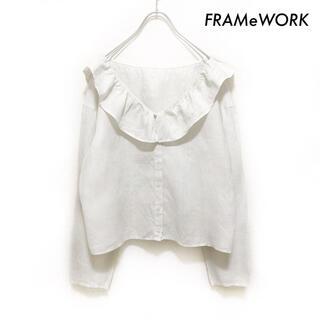 FRAMeWORK - FRAMeWORK フレームワーク★ビッグカラー 長袖ブラウス リネン100%