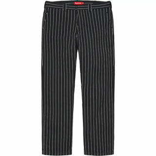 Supreme - 32 ストライプ Supreme Work Pant black stripe
