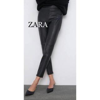 ZARA - 美品★ZARA★フェイクレザーパンツ、ブラック