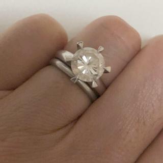 pt900 2カラット✨キュービックジルコニア 一粒ダイヤモンドリング