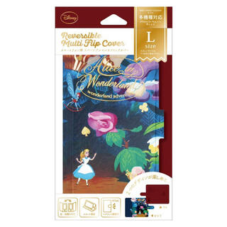 ディズニー(Disney)のDisney スマホケース 手帳型 リバーシブルタイプ(L)アリス 新品未使用品(モバイルケース/カバー)
