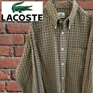 ラコステ(LACOSTE)の【レア】⠀LACOSTEラコステ 長袖シャツ 人気アースカラー  刺繍ロゴ 古着(シャツ)