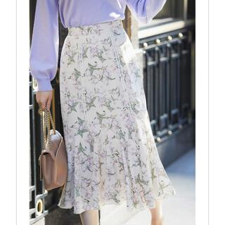 tocco - はしごレース装飾フラワープリント切替スカート