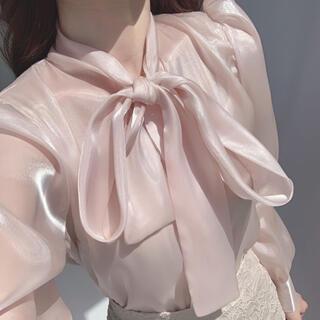 STYLENANDA - 【予約商品】《3カラー》タイリボン シースルー シルクブラウス 韓国 春服