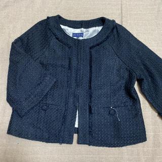 新品 ノーカラージャケット ツイードジャケット 紺