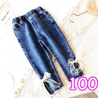 【100】新作  ボトムス  パンツ  デニム  リボン  可愛い  韓国子供服