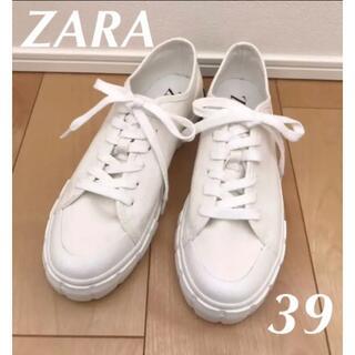 ZARA - ZARA ザラ キャンバススニーカー  39 白 ホワイト