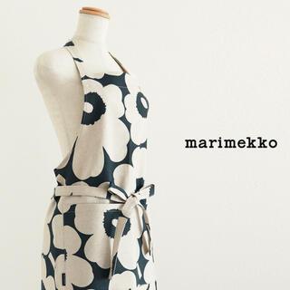 marimekko - マリメッコmarimekkoエプロンダークグリーンピエニウニッコ柄新品キッチン