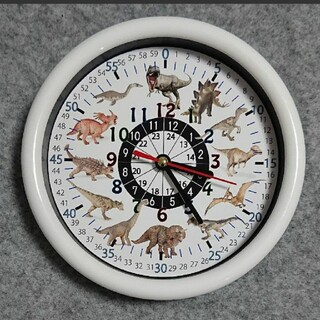 17cm 恐竜 24時間表記入り 白枠 掛け時計(知育玩具)