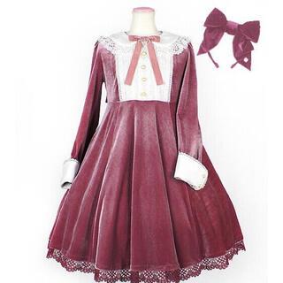 Angelic Pretty - lady ribbon ワンピース 別珍 ピンク セット
