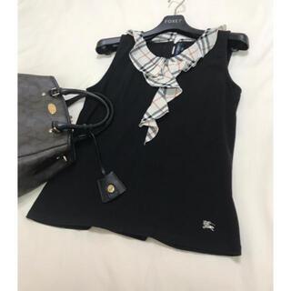バーバリー(BURBERRY)の美品 バーバリー ロンドン トップス ブラック 黒 チェック ノースリーブ(Tシャツ(半袖/袖なし))