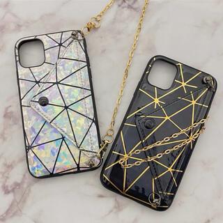 新品 【ホワイト】チェーン&ポケット付 iPhone11・XRケース(iPhoneケース)