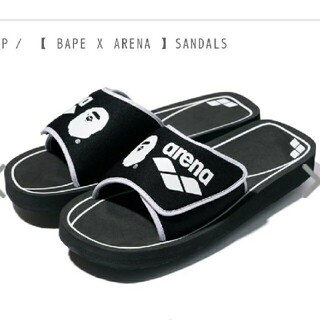 A BATHING APE - A BATHING APE ARENA SANDALS 9 27 黒