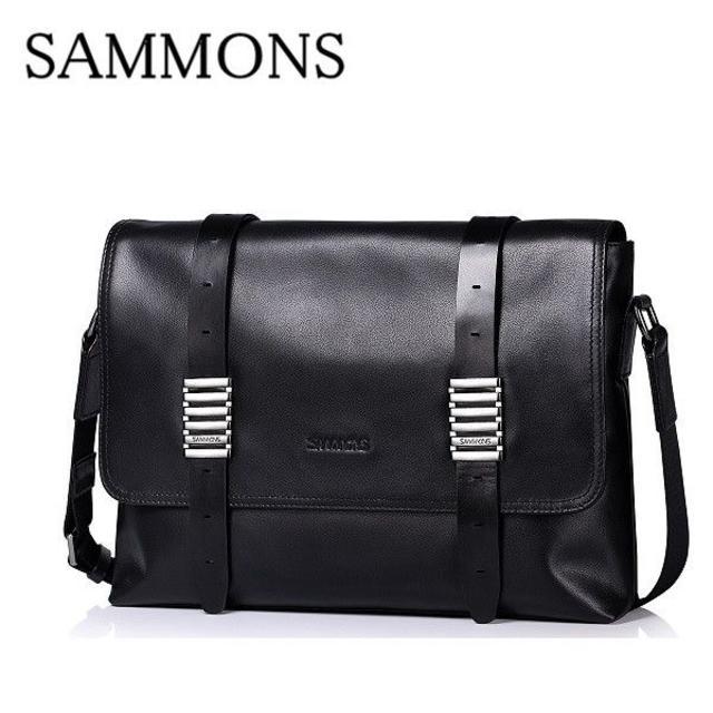 大人気SAMMOMS★メンズ メッセンジャーバッグ 牛革 黒 A62 メンズのバッグ(メッセンジャーバッグ)の商品写真