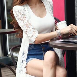 【ホワイト/L】韓国ファッション 総レース花柄カーディガン(カーディガン)