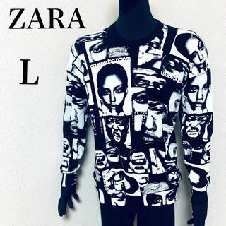 ZARA - ZARA 総柄 フェイスプリント トレーナー ブラック L 完売品 ザラ