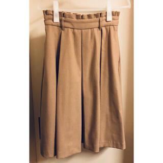 ページボーイ(PAGEBOY)のオフィスカジュアル フレアスカート 厚手 キャメル(ひざ丈スカート)