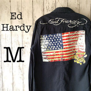Ed Hardy - 【エドハーディー×星条旗】古着 メンズ トップス シャツ ドクロ バックプリント