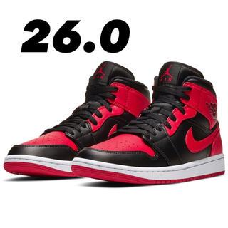 NIKE - Nike Air Jordan 1 Mid Black Red ジョーダン