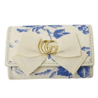 Gucci - グッチ GGリボン キーケース 6連 ホワイト ブルー 435818