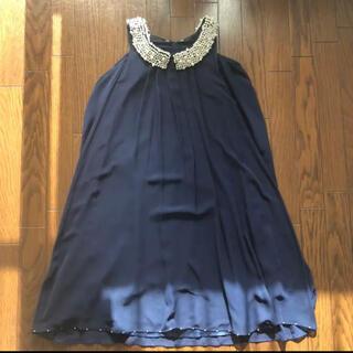 ドゥドゥ(DouDou)のDOU DOU 紺色 パーティードレス パールの襟付き(ミディアムドレス)