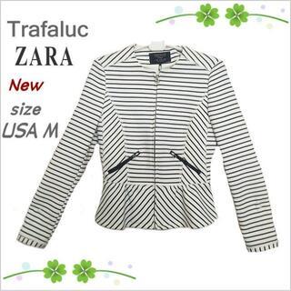 ZARA - 新品・未使用【ZARA】白黒ボーダー柄ノーカラージップ付きジャケット*USA M