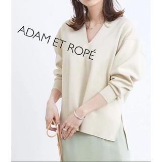 Adam et Rope' - 【美品】アダムエロペ ダブルニットVネックプルオーバー トップス 春ニット