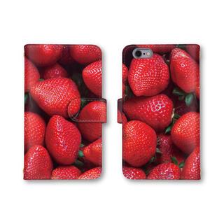 イチゴ 苺 スマホケース 手帳型 スマホカバー ほぼ全機種対応 ミラー(モバイルケース/カバー)