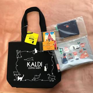 カルディ(KALDI)のカルディ KALDI  ネコの日バッグ ニャンコーヒーセット ポーチ(トートバッグ)