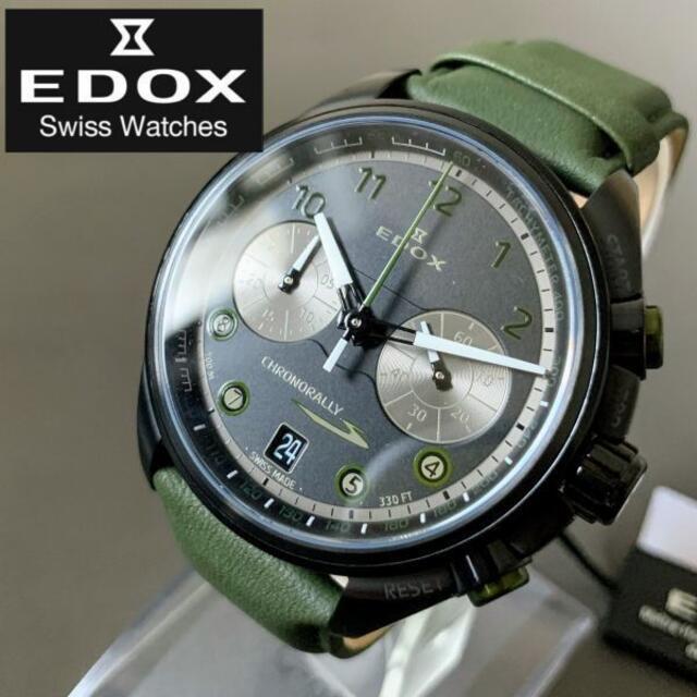 EDOX(エドックス)の【新品】エドックス EDOX クロノラリー スイス製 ブラック盤色 メンズ腕時計 メンズの時計(レザーベルト)の商品写真