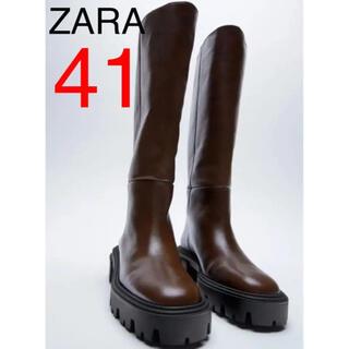 ZARA - ZARA 新品 レザーブーツ 41  ロングブーツ  ブラウン