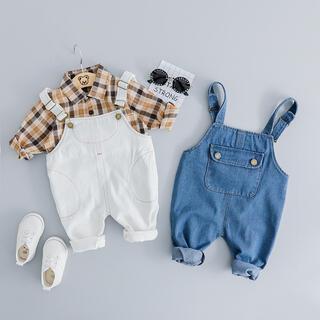 オーバーオール+シャツ ブルー