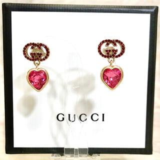 Gucci - 正規品 グッチ ピアス ゴールド ラインストーン ハート クリスタル スイング