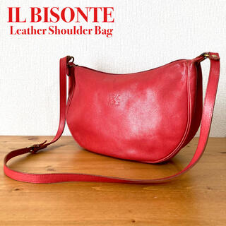 IL BISONTE - IL BISONTE イルビゾンテ ハーフムーン ショルダーバッグ レッド 牛革