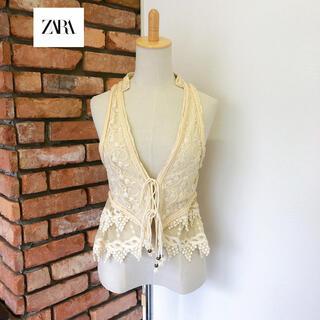 ZARA - 良品 ZARA WOMAN ザラ  レース 刺繍 ジレ ベスト アイボリー系