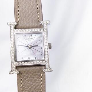 Hermes - 【仕上済】エルメス Hウォッチ シェル ダイヤ シルバー レディース 腕時計